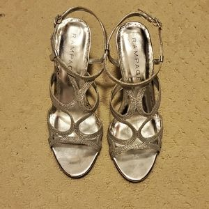 Silver strappy sandal heels, evening shoes 7.5
